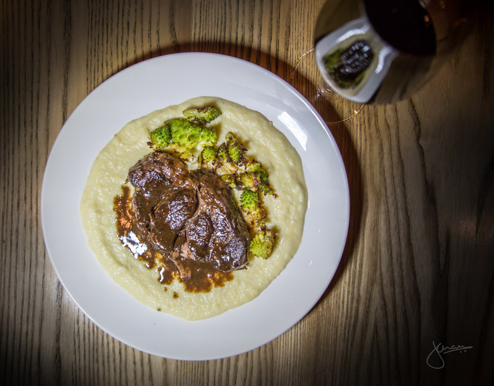 Red Wine Braised Beef 'Delmonico' paired with Luccarelli Negroamaro - polenta, roasted romanesco, parmesan