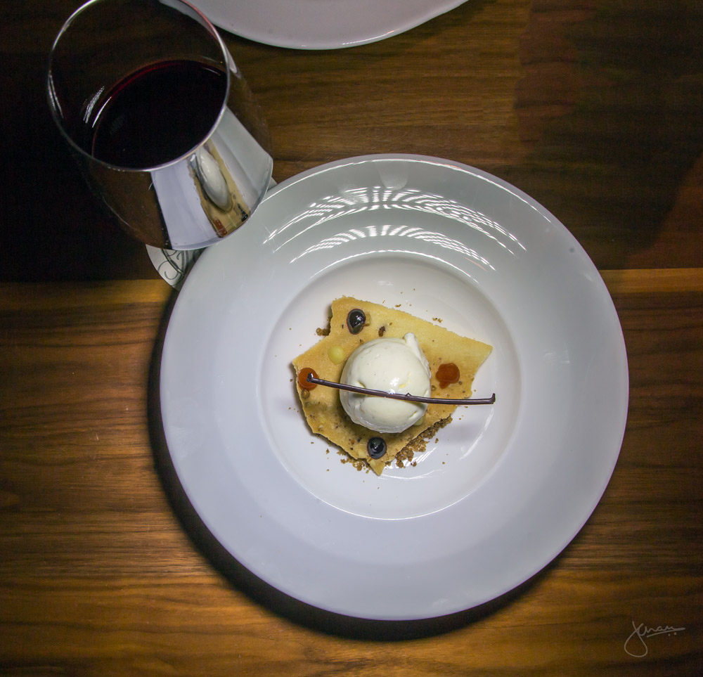 Brie Walnut Ice Cream - black currant gelee, nut wafer, fingerlime, paired with Cedar Creek Merlot