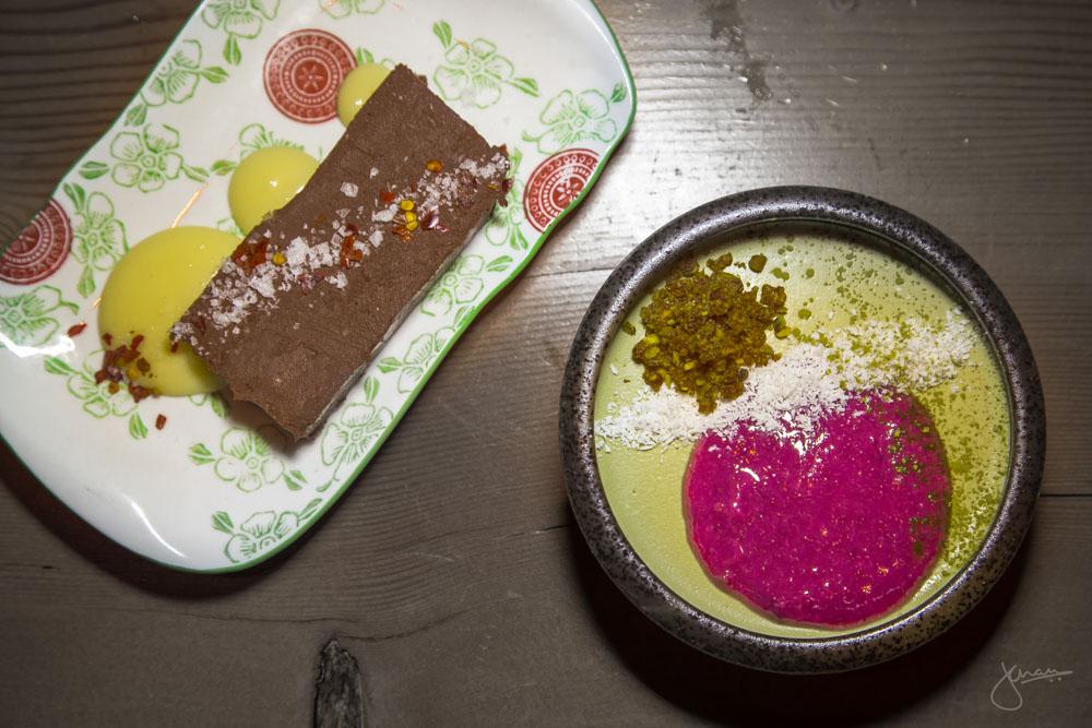 Desserts: Nama Chocolate & Matcha Coconut Panna Cotta