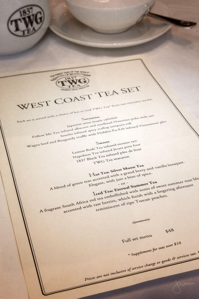 TWG Tea Canada West Coast Tea Set Menu