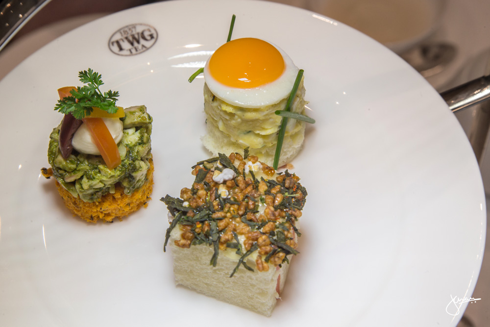 Smoked Salmon and Horserash Cream with Nori and Genmaicha Furikake, Mimosa Egg Sandwich with Aioli and Mirror Quail Eggs, Smoky Russian Tea Infused Tomato Bread with Pesto Chicken and Stracciatella Cheese