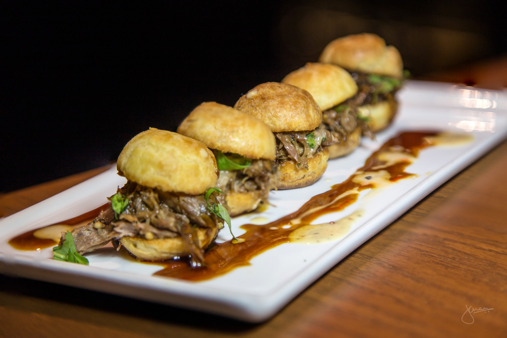 Duck Confit Sliders - aged sherry dressing, profiterole