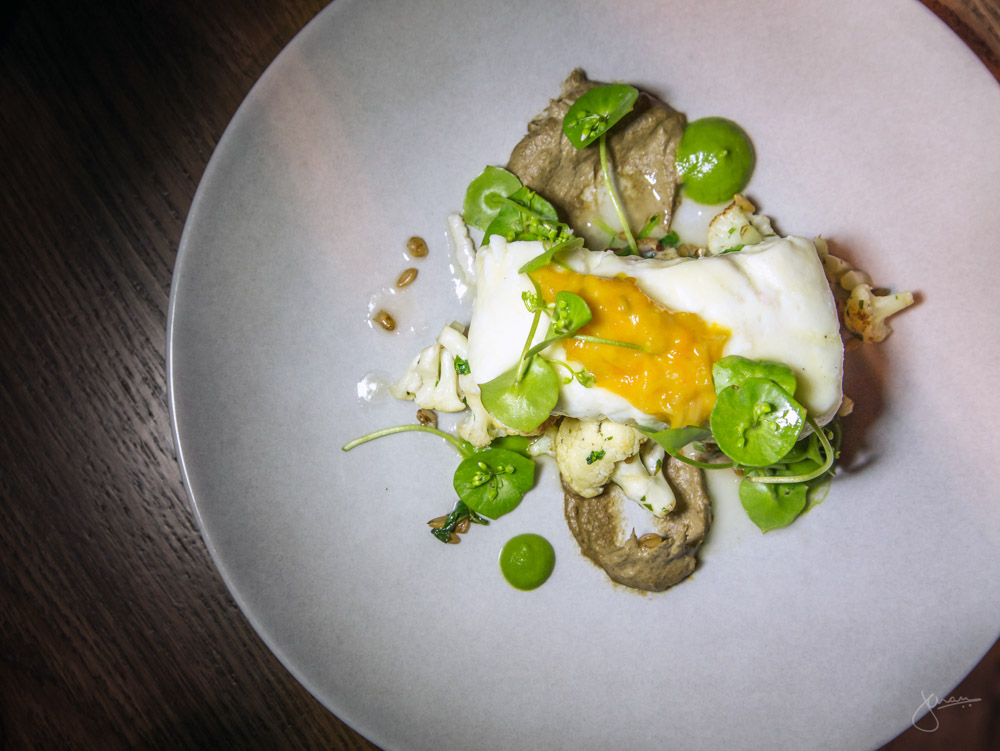 Butter Poached Halibut - roasted cauliflower, spinach, barley, kumquat preserve, green garlic, cultivated mushroom