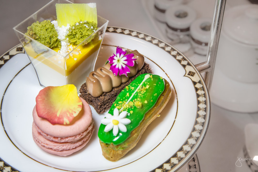 Sweets: Milk Chocolate Brownie, No Bake Matcha Mango Cheesecake, Rose Water Raspberry Macaron & Pistachio Eclair