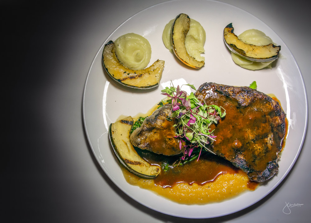 Char-grilled Rib Steak: Roasted winter squash and natural jus