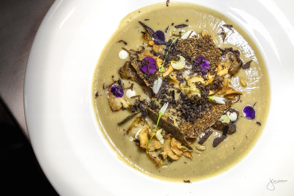 Sunchoke Soup - truffles, artichoke,sunflower butter