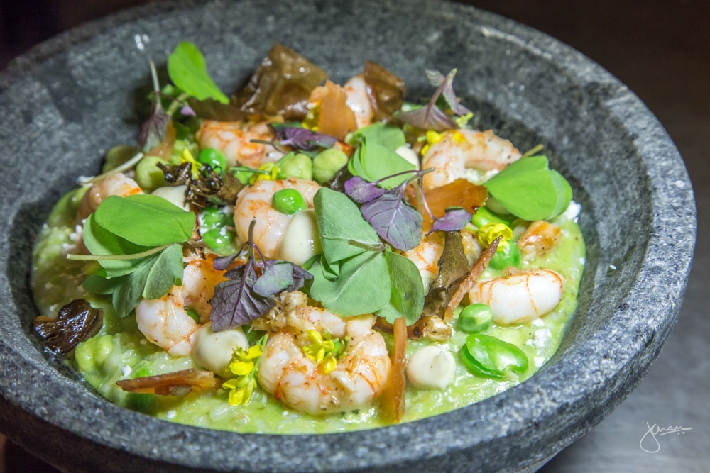 Prawn & Crab Risotto - BC shrimp, dungeness crab, spring peas & beans, goat cheese, micro shiso
