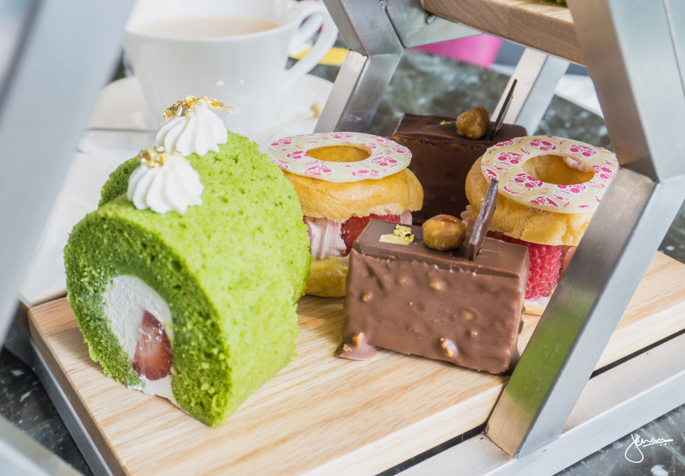 Pastry Selection: Matcha & Strawberry Rolled Cake, Raspberry Rose Water & Lychee Paris Brest, Hazelnut Chocolate Cake