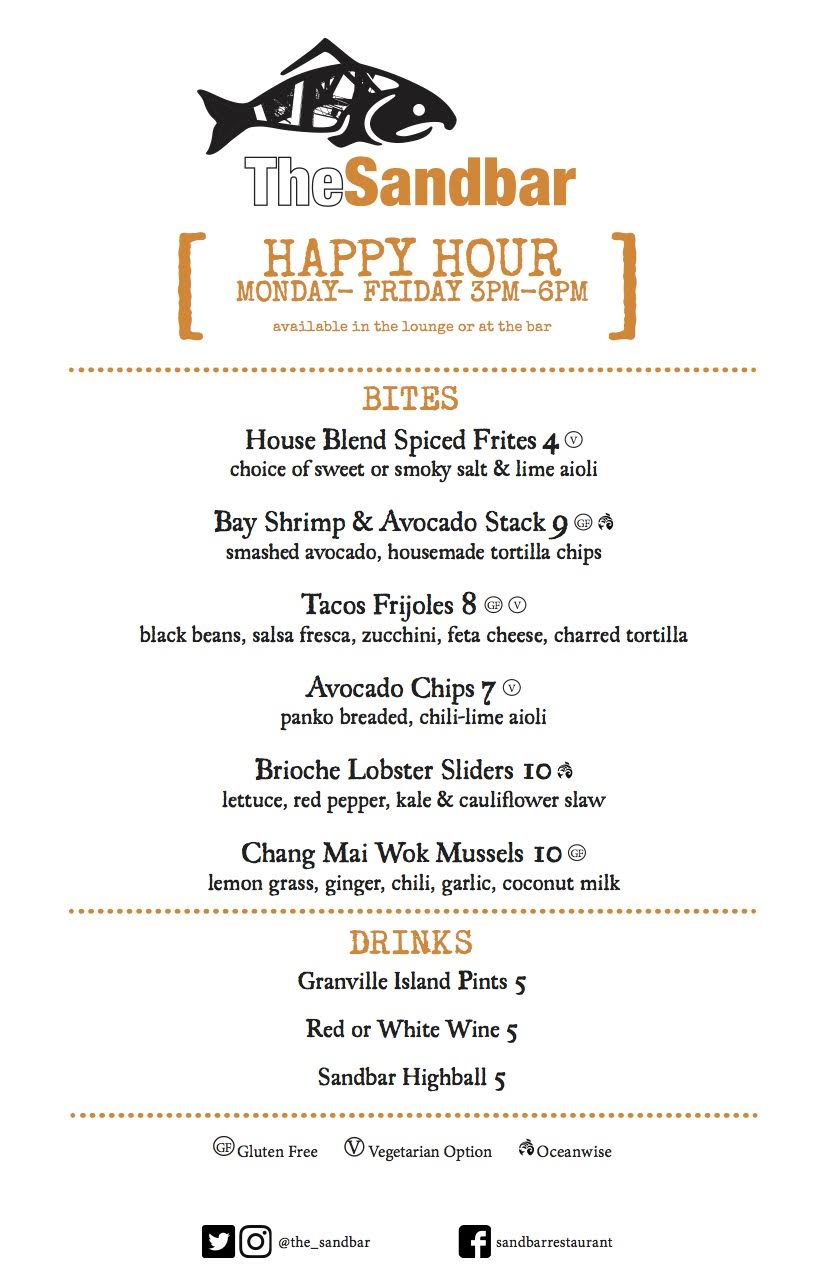 Happy Hour from 3-6pm at The Sandbar