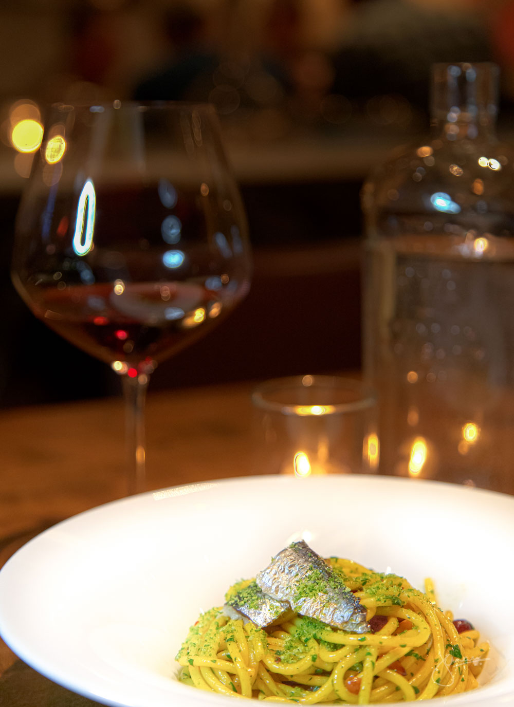 Sicily | Spaghetti, Sardines, Currents, Pine Nuts, Saffron Wine Pairing: Massei Zisola Nero d'Avola