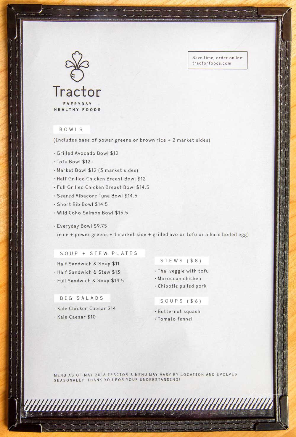 Tractor Foods Menu
