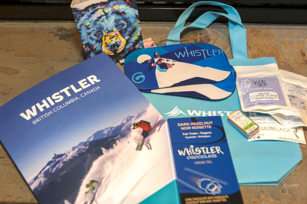 Tourism Whistler set us up with some awesome Whistler merchandise, including Dark Hazelnut Chocolate, Whistler branded Goggle Socs & Some Gypsy Soul bath salts & coffee scrub!