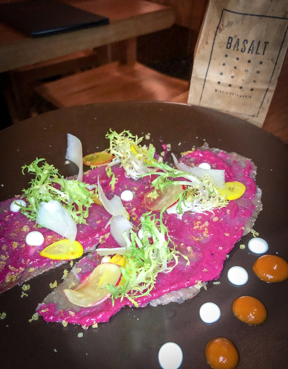 "Beef Striploin Carpaccio + ""a bag of chips"""