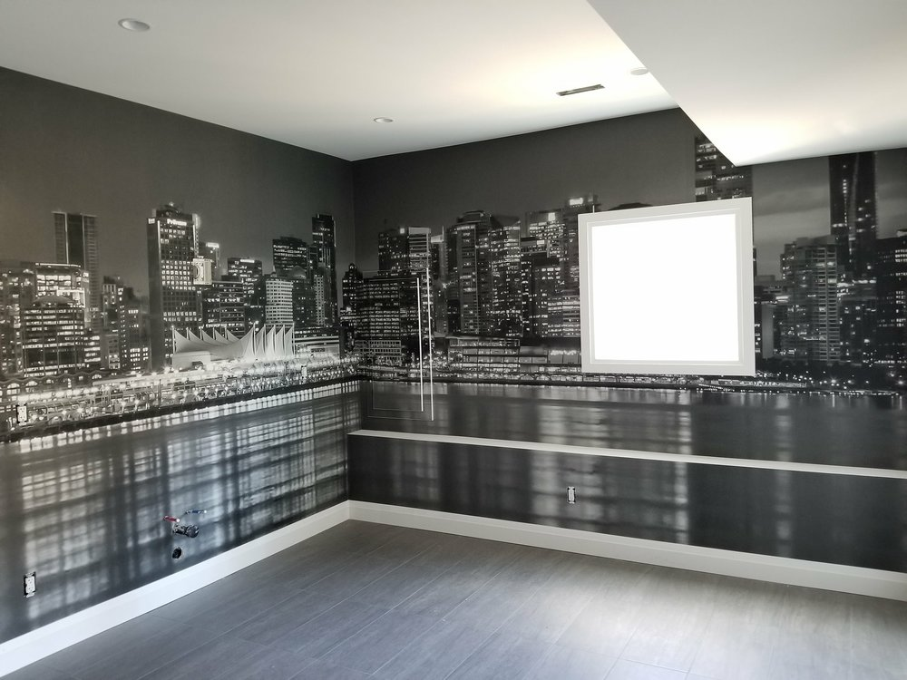 Black and White Skyline Wall Installation