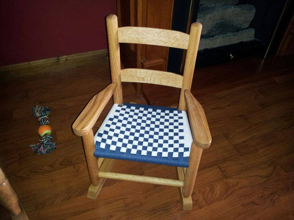Child's rocker, Shaker tape seat. Available in other colors.
