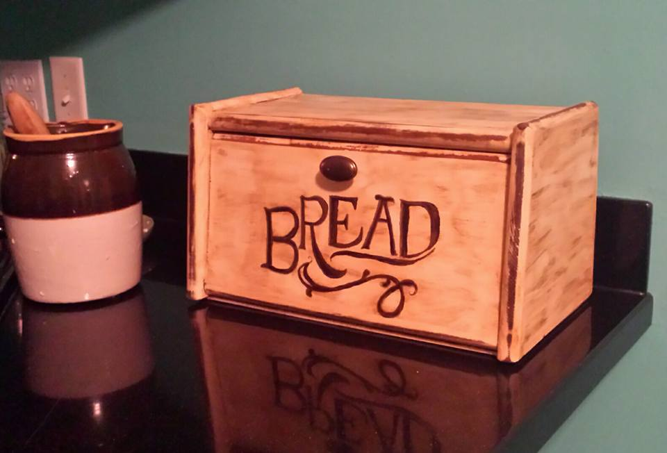 Vintage bread box, repainted and hand-lettered