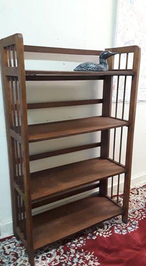 Vintage folding bookshelf. Refinished in walnut stain. SOLD