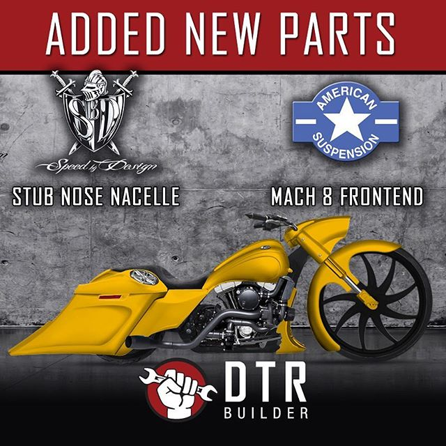 HEY, we're always adding new parts!  Try out the @speedbydesign stub nose nacelle and also try the @americansuspension Mach 8 front end!  DTRBuilder.com #dtr #dtrbuilder #dealers4dtr #unitingtheindustry #baggers #bagger #harleydavidson #tryitout