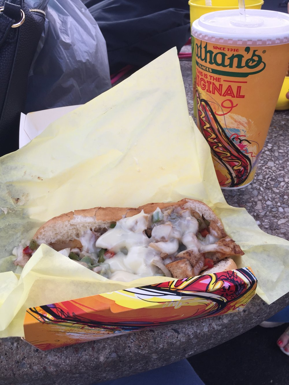 Aug 31– Kaitlin and I took a trip to Coney Island for a free showing of Beauty and the Beast on the beach! We stopped for dinner at Nathan's on the way. They're known for some rad hot dogs. I opted for the chicken philly and some lemonade.  yummmm .