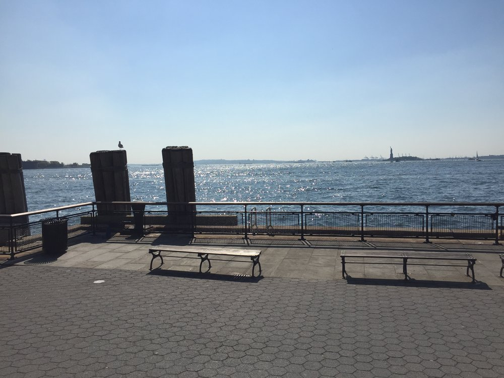 Sept 24– I went on an journey to Battery Park. The train ride was long and involved several transfers. I was slowed down by tourists everywhere I went and hassled by vendors. It was 90 degrees and I was hot. I loved every minute and I got a glimpse at the statue of liberty which totally made it all worth it.