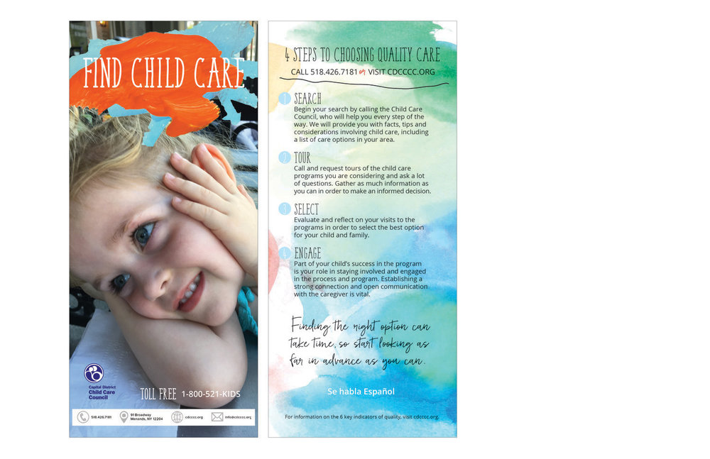 Rack card for outreach.  branding, design, layout, print