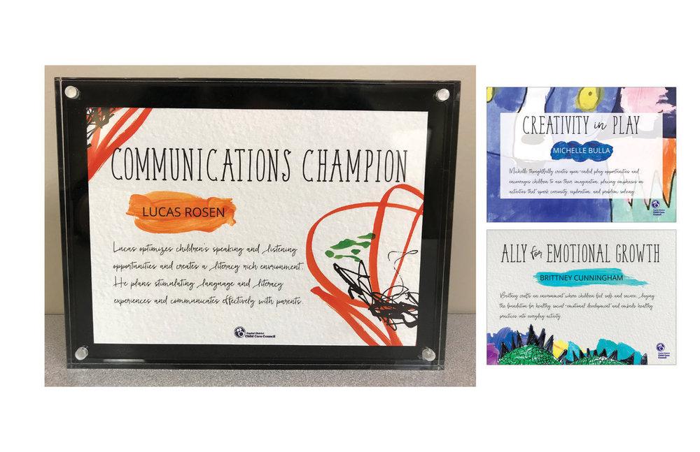 Awards for annual provider appreciation dinner.  branding, design, layout, print