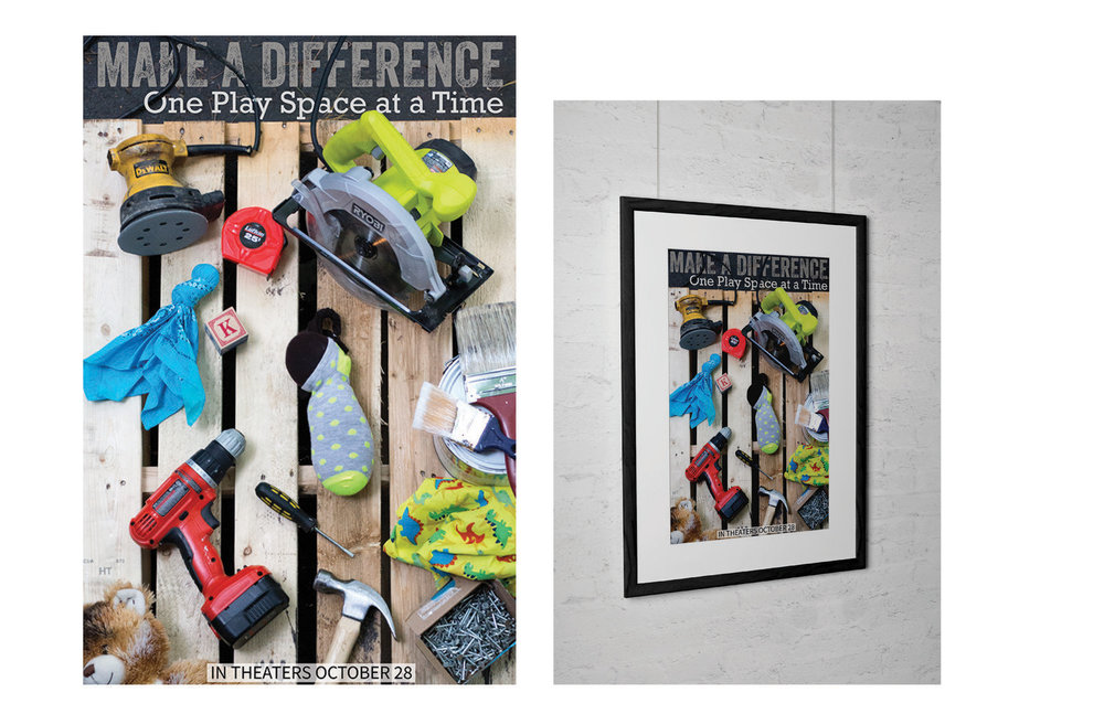 Poster representing the Child Care Council's DIY classroom makeovers.  photography, design, print, digital