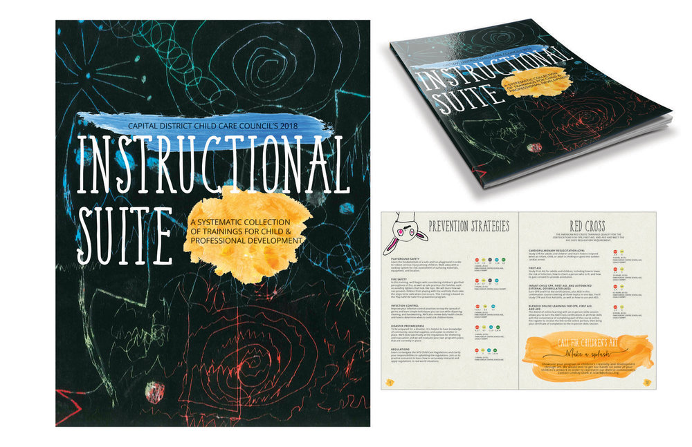 Instructional Suite catalog outlining all Council trainings for 2018.  branding, design, layout, content editing, print, digital