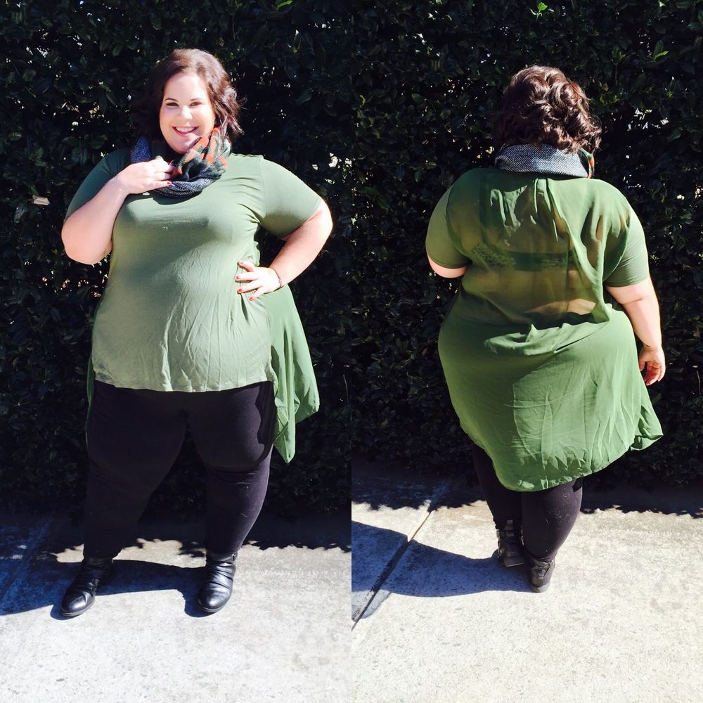 I chose this top in green and it is fabulous. It's comfortable, but also a little bit fancy with the sheer back and extra material! I styled it with this SWAK scarf!