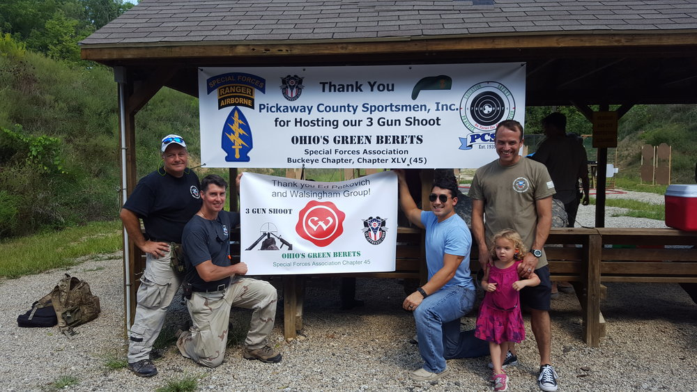 L to R: Butch Betzko, Mark Arnold, B/2/19 GB, SGM Graff and daughter. Our lead sponsors: Pickaway County Sportsmen and Ed Petkovich and Walsingham Group. (MACA Plastics donation arrived before banner could be made for the Shoot.)