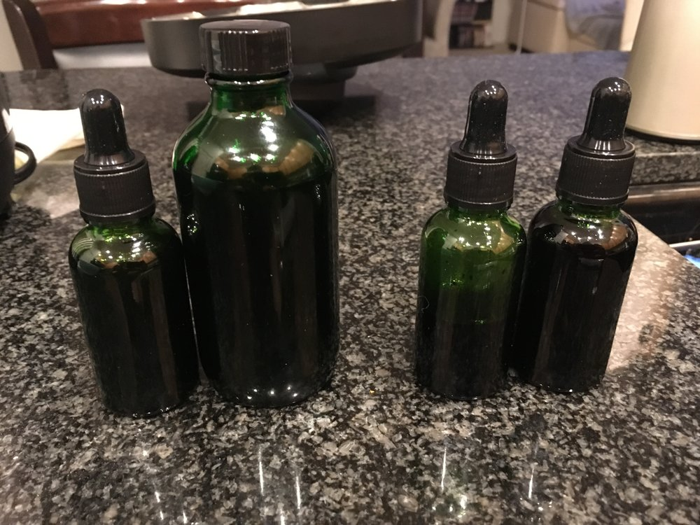 16oz medicated Everclear reduced to 5 oz (left) -VS- 60oz medicated Everclear reduced to 1.5oz (right)