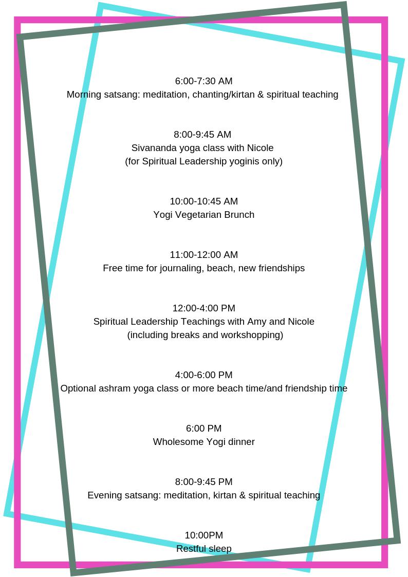 Daily schedule 6_00-7_30 AM - Morning satsang_ meditation, chanting_kirtan & spiritual teaching 8_00-9_45 AM - Sivananda yoga class with Nicole for Spiritual Leadership yoginis only 10_00-10_45 AM - Brunch 11_00-12_0.png