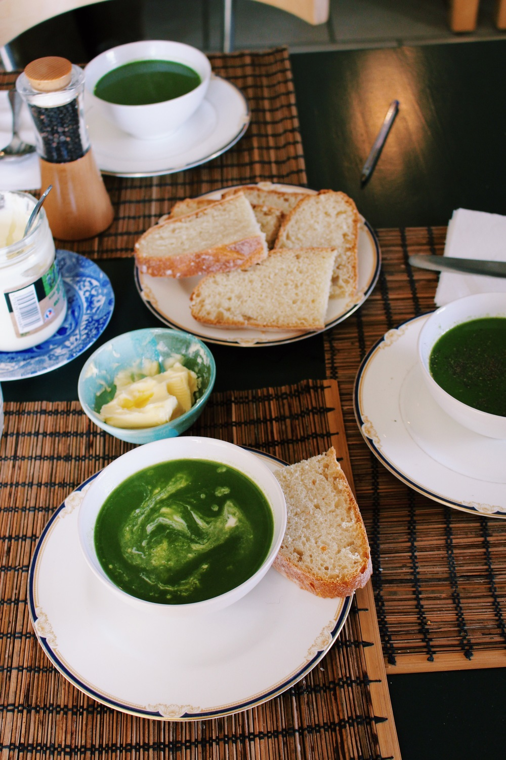"Grandma's ""Slash and Burn"" Spinach Soup with creme fraiche and chili"