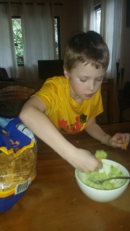My son loving the fresh avocados here