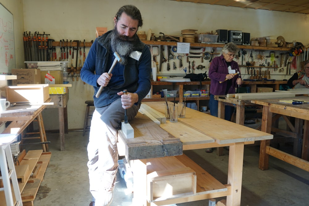 Yann Giguère shows his technique for chopping a mortise