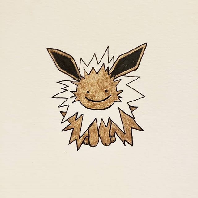 Inktober day 30 // jolt Yes, I'm lazy and drew a Jolteon like a bunch of other people. Made it a Ditto Jolteon cause I just got outta work and I wanna go to sleep. Thought the gold would turn out more yellow. Oh well 🤷♀️ #inktober #inktober2018 #blickinktoberchallenge #blicklincolnpark #blickartmaterials #jolt #jolteon #gellyroll #micronpn #pokemon