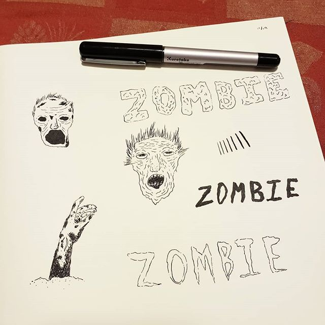Trying out a new brush pen while I watched the 1st ep of Walking Dead s9 💀 #zombie #sketch #sketching #kuretake #kuretakebrushpen #lowbrow #lowbrowart #lettering #illustration #ilustracion