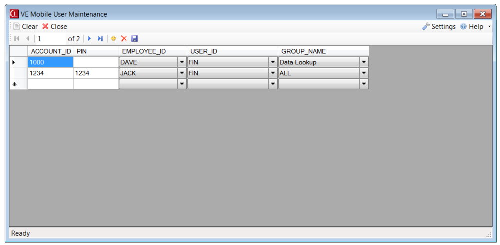 VE Mobile - VISUAL ERP Mobile - Set-up User Maintenance