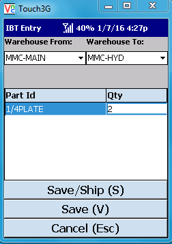 VE Mobile - Interbranch Transfers for Infor VISUAL ERP with barcodes and mobile hardware -  Enter the quantity of each item to be shipped
