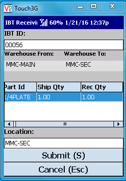 VE Mobile - Interbranch Transfers for Infor VISUAL ERP with barcodes and mobile hardware -   Enter the location for the transfer