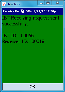 VE Mobile - Interbranch Transfers for Infor VISUAL ERP with barcodes and mobile hardware - Green C  onfirmation Screen