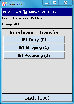 VE Mobile - Interbranch Transfers for Infor VISUAL ERP with barcodes and mobile hardware -   Staging IBT shipments - First Screen