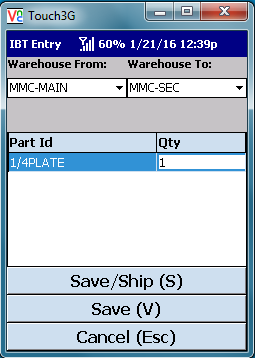 VE Mobile - Interbranch Transfers for Infor VISUAL ERP with barcodes and mobile hardware -   Second screen to stage shipment involves selecting the warehouse, part and quantity