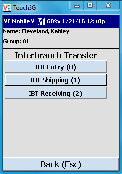 VE Mobile - Interbranch Transfers for Infor VISUAL ERP with barcodes and mobile hardware -   Shipping the IBT