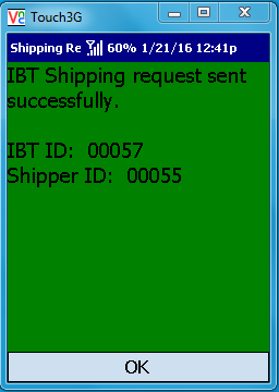 VE Mobile - Interbranch Transfers for Infor VISUAL ERP with barcodes and mobile hardware -   IBT Shipment Confirmation Screen in Green