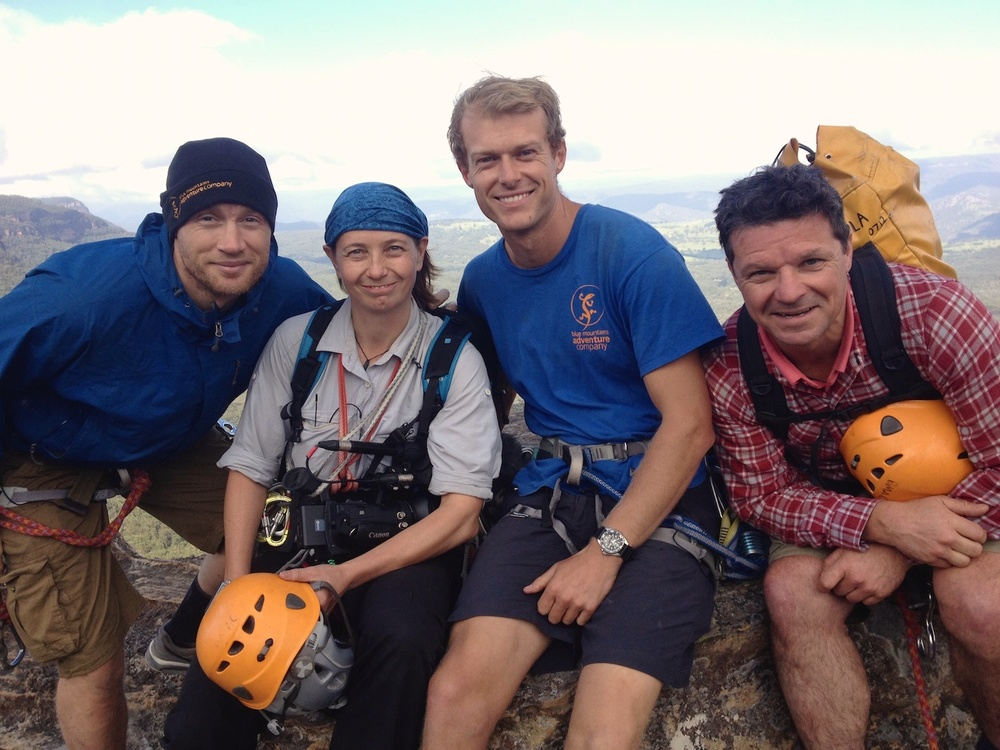 With Freddie Flintoff, Blue Mountains Adventure Company guide Marty Doolan, and Rob Penn.