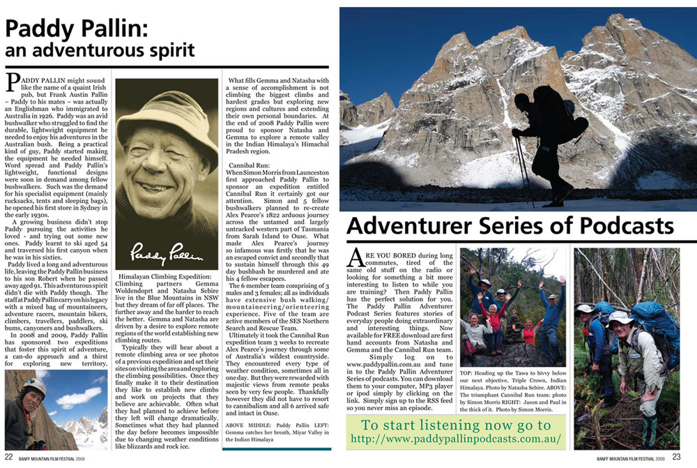 Banff Mountain Film Festival program, May 2009