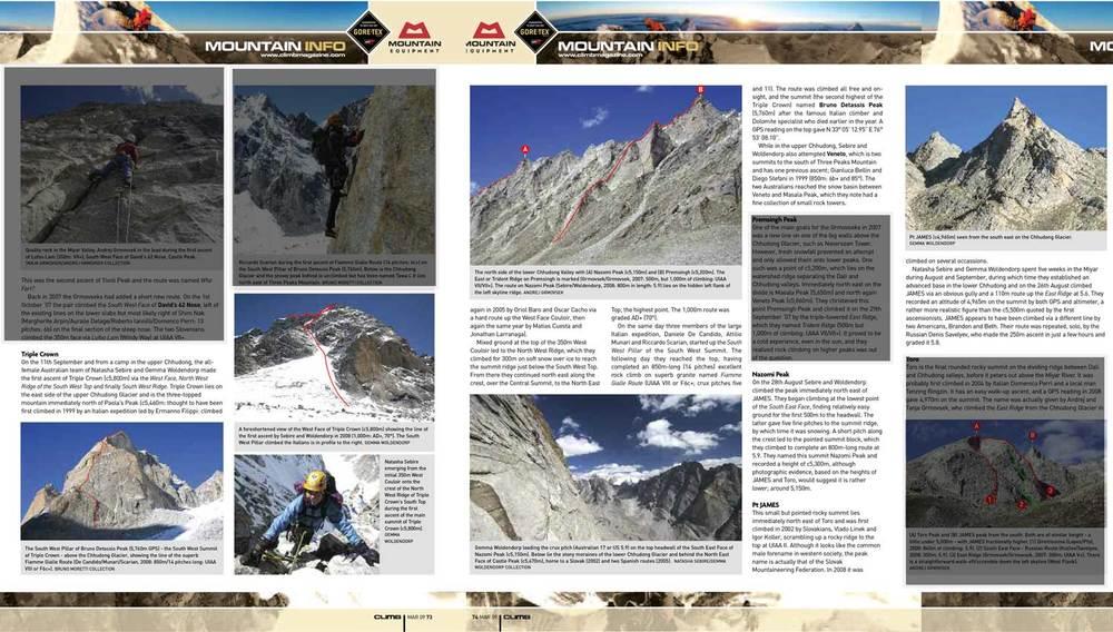 Climb magazine, Mountain Info March 2009
