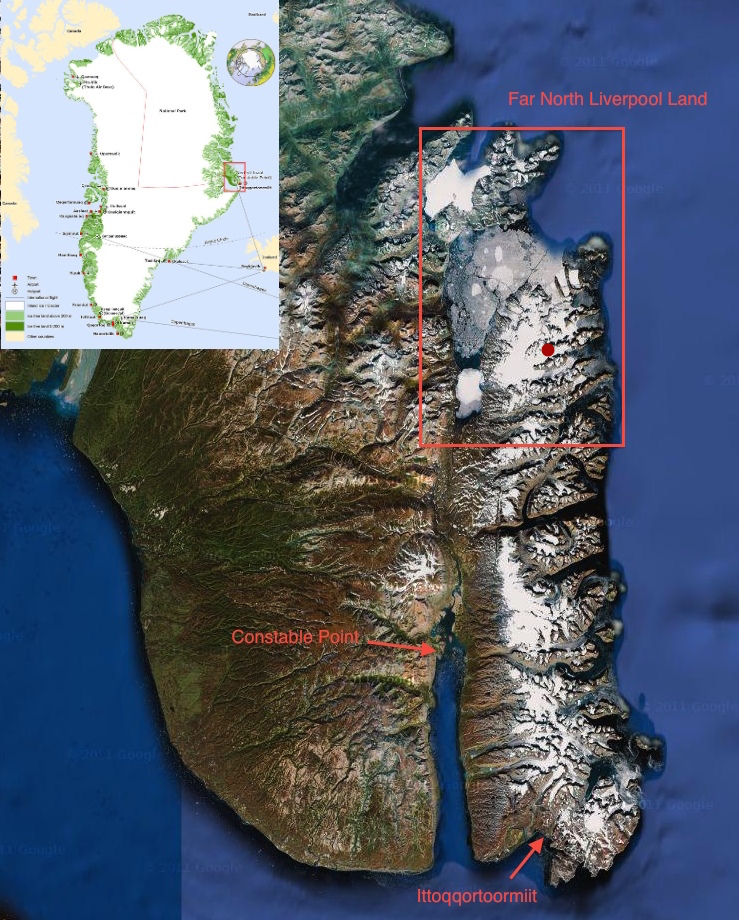Click map to enlarge. Red dot indicates our base camp area.