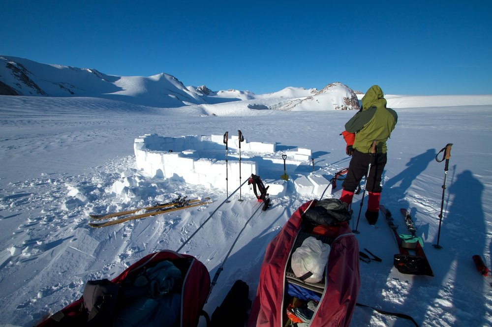 Setting up camp on the glacier